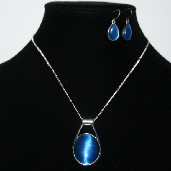 Silver and blue cats eye necklace earrings set
